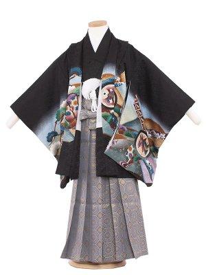 七五三レンタル(5歳男袴) 5103-5 黒/鷹と松