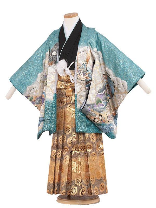 七五三レンタル(5歳男の子袴)5190 水色×鷹