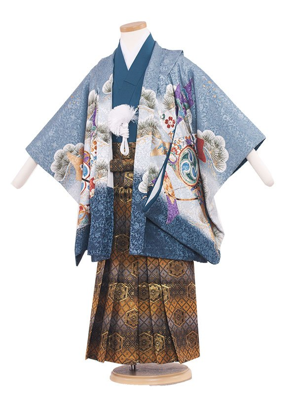 七五三レンタル(5歳男の子袴) 5028 青磁宝ブルー/紋