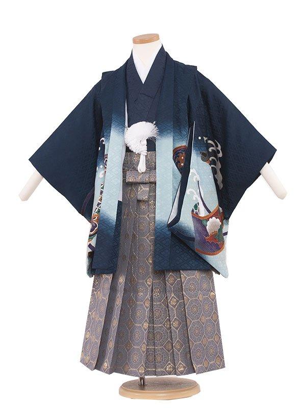 七五三レンタル(5歳男の子袴) 5053 紺色/鷹と祝巻