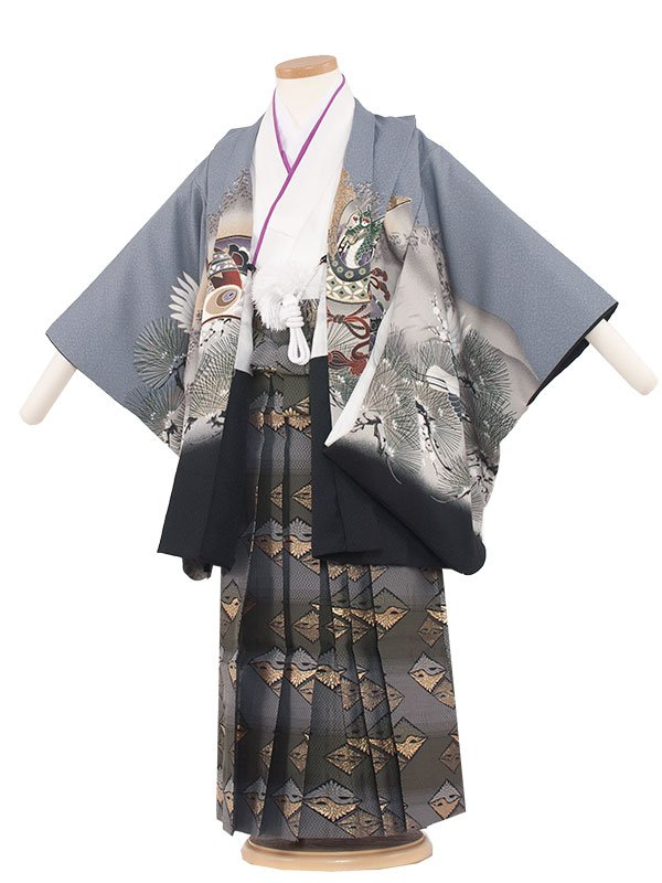 七五三(5男)5209 灰色×鷹と鶴