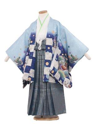 七五三レンタル(5歳男袴)5002 水色/兜