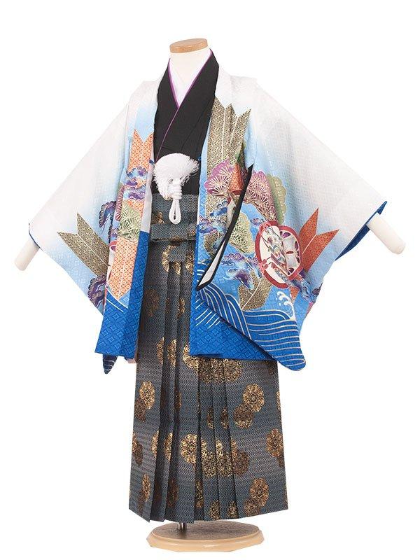 七五三・卒園式袴レンタル(5男)5204 白色×鷹