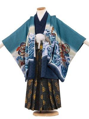 七五三レンタル(5歳男袴) 5048 ブルー/鷹と波