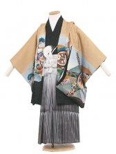 七五三(5男)5038-2 カラシ/兜と松 袴55