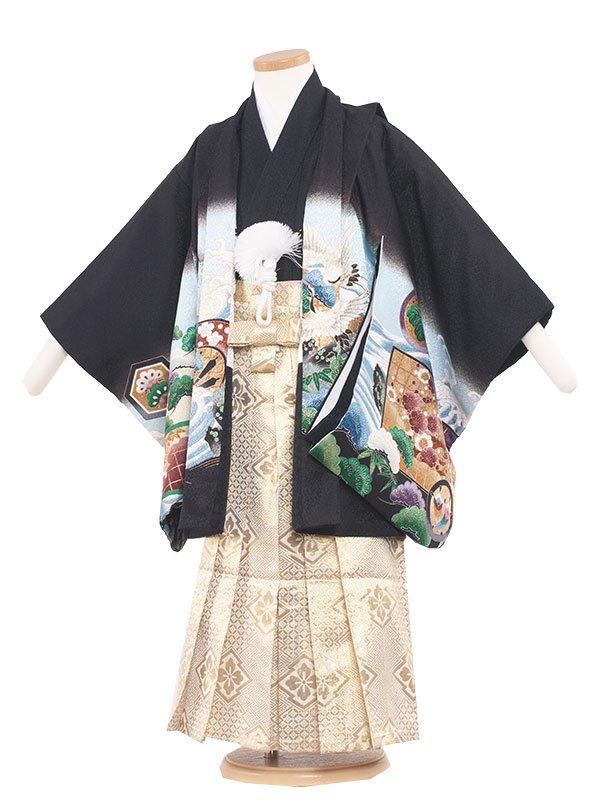 七五三・卒園式袴レンタル(5男)5035-2 黒/タカに向鶴