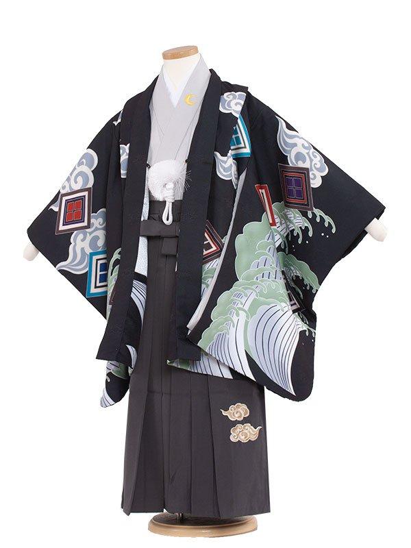 七五三・卒園式袴レンタル(5男)5143 黒/天空昇龍