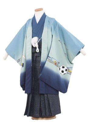 七五三レンタル(5歳男袴)5251 青/サッカー柄