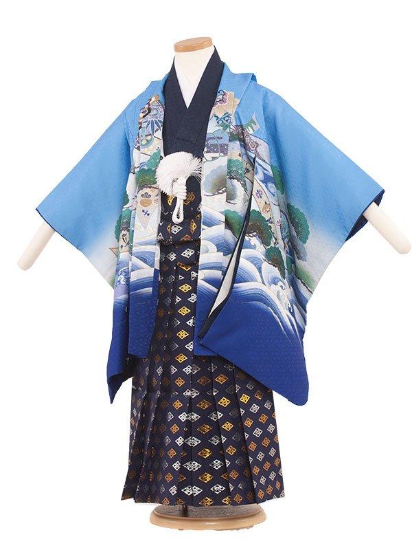 七五三レンタル(5歳男の子袴) 5061 水色/刺繍頭鷹と波