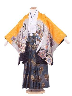 七五三レンタル(5歳男袴)5237 オレンジ//鷹・正倉院文様