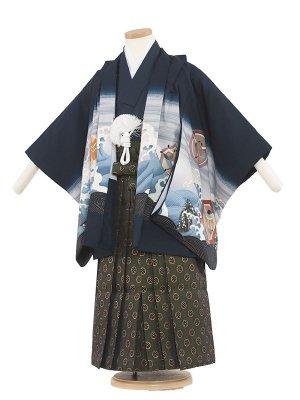 七五三レンタル(5歳男袴) 5052 紺色/波と鷹