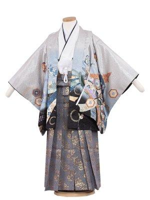 七五三レンタル(5歳男袴)5203 ライトグレー×鷹