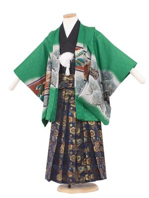 七五三レンタル(5歳男袴) 5116 緑色/鷹と松
