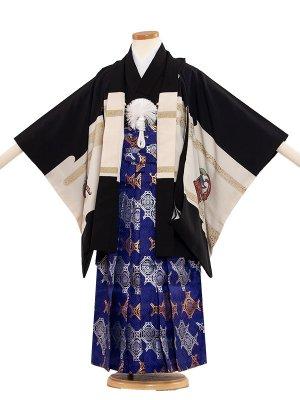 七五三レンタル(5歳男袴) 5010 黒/馬と兜と武士