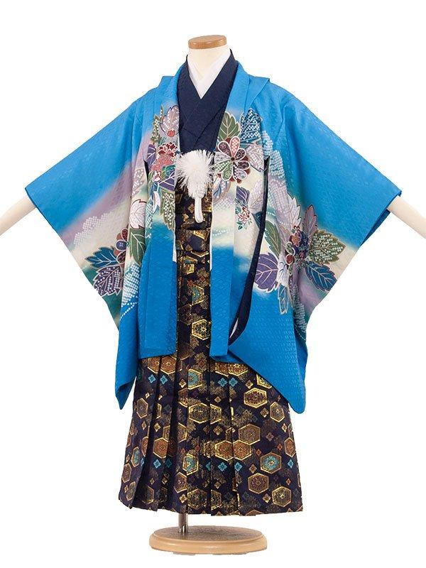 七五三レンタル(5歳男の子袴) 5074 水色/鷹と菊華