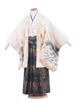 七五三レンタル(5歳男袴)5249 白/鷹×富士