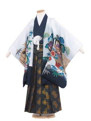 七五三レンタル(5歳男袴) 5113-2 白/鷹に熨斗