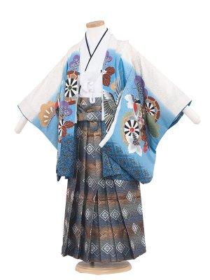 七五三レンタル(5歳男袴)5245 白×水色/鷹