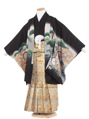 七五三レンタル(5歳男袴) 5119 黒/兜に丸紋