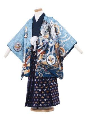 七五三レンタル(5歳男袴) 5065 水色/鷹と菊華