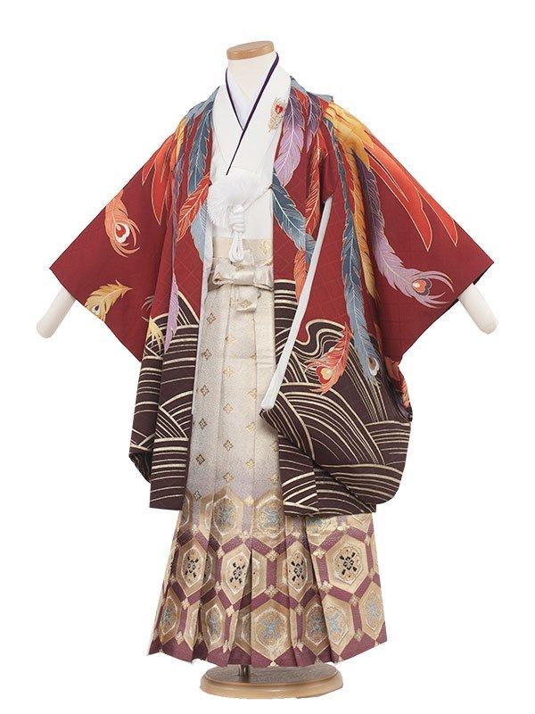 七五三・卒園式袴レンタル(5男)5042 レッド/鳳凰の舞