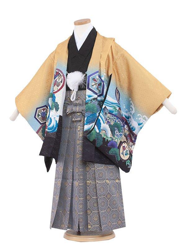 七五三・卒園式袴レンタル(5男)5169 からし色×鷹