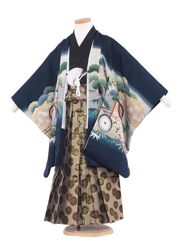 七五三レンタル(5歳男の子袴)  5121 紺/兜に丸紋