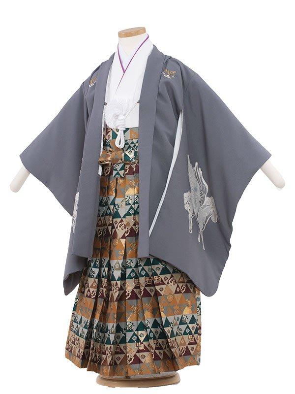 七五三・卒園式袴レンタル(5男)5007 グレー/ペガサス
