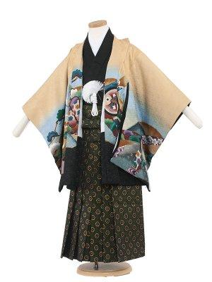 七五三レンタル(5歳男袴) 5107 カラシ/鷹と松