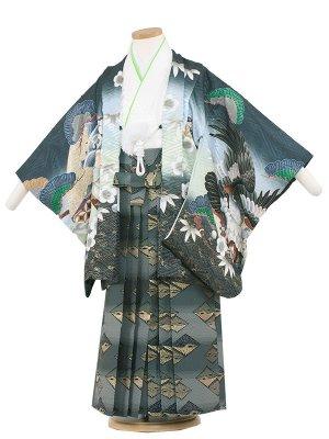 七五三レンタル(5歳男袴)5188 深緑色×梅鷹
