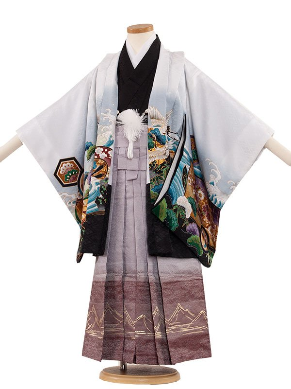 七五三(5男)5047-2 白/鷹と波 袴55