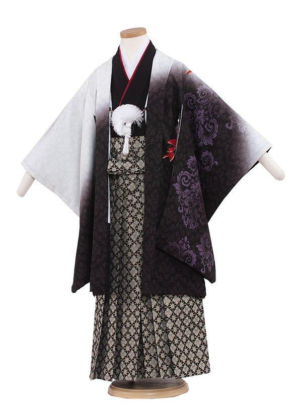 七五三レンタル(5歳男の子袴)5222 白地/黒グラデーション
