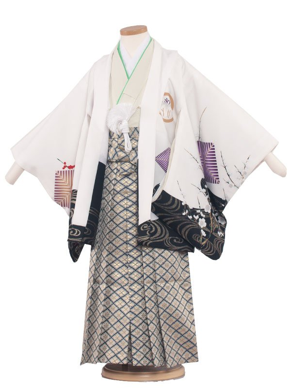 七五三・卒園式袴レンタル(5男)5091 白/紅白梅鷹