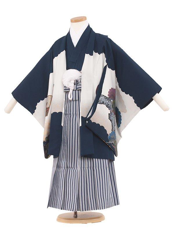 七五三・卒園式袴レンタル(5男)5017 紺/ 城に鷹