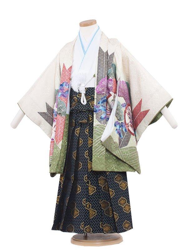 七五三レンタル(5歳男の子袴) 5062 クリーム地/うす緑/刺繍頭鷹と松
