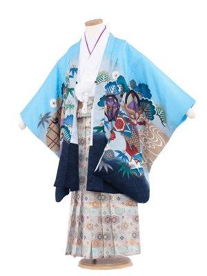 七五三レンタル(5歳男袴) 5142-2 水色/鷹に熨斗