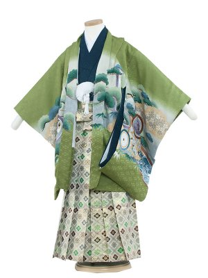 七五三レンタル(5歳男袴) 5130 グリーン/兜に丸紋