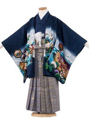 七五三レンタル(5歳男袴) 5068-2 紺色/鷹と鼓