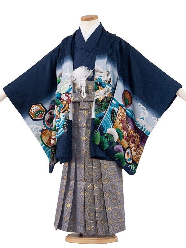 七五三・卒園式袴レンタル(5男)5068-2 紺色/鷹と鼓