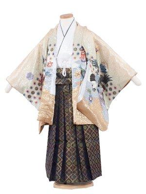 七五三レンタル(5歳男袴)5200 ベージュ色×鷹