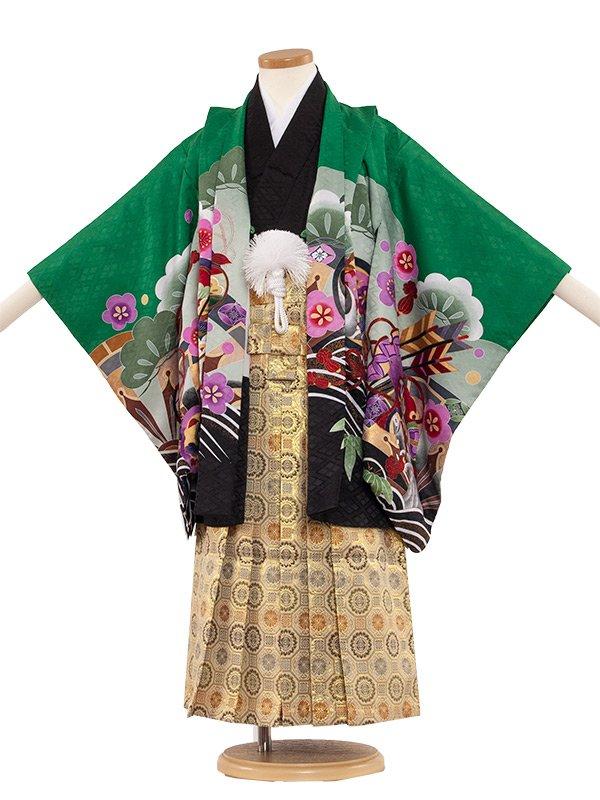 七五三・卒園式袴レンタル(5男)5086 緑/兜と梅