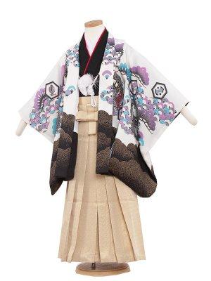 七五三レンタル(5歳男袴) 5153 白色/昇り竜