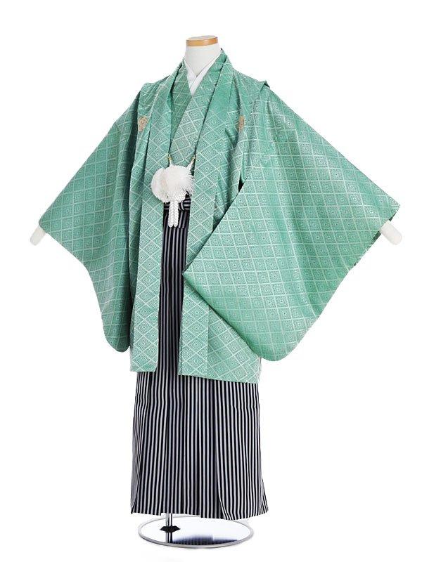 ジュニア男児グリーン紋付×縞袴gm13