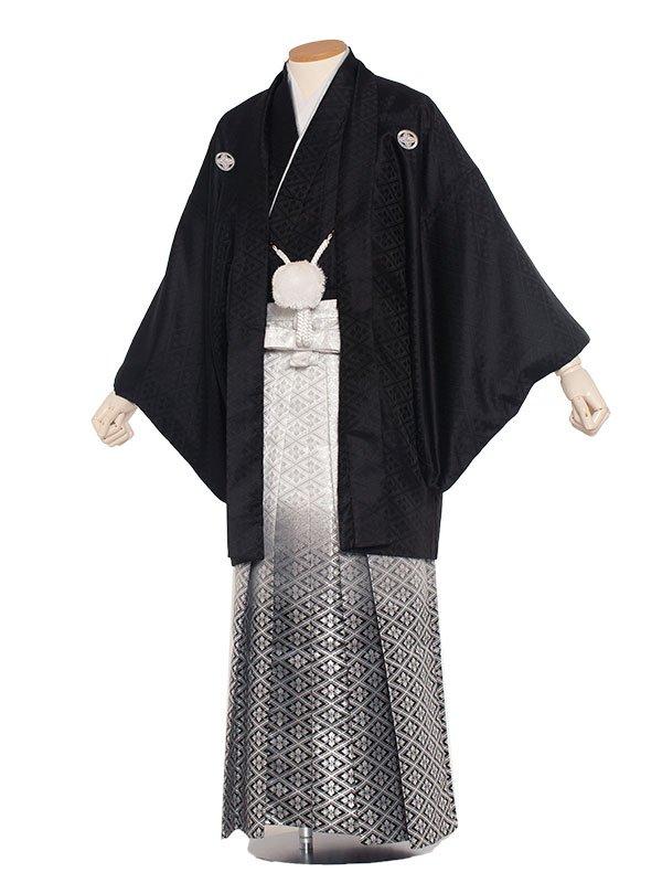 男性用袴レンタル 紋付5号黒紋付ぼかし/5-02