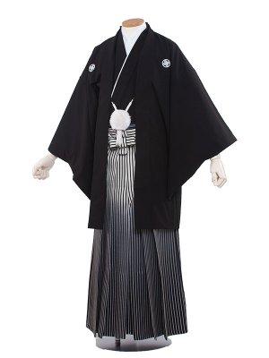 男性用袴レンタル 5号 黒紋付ぼかし/5-01