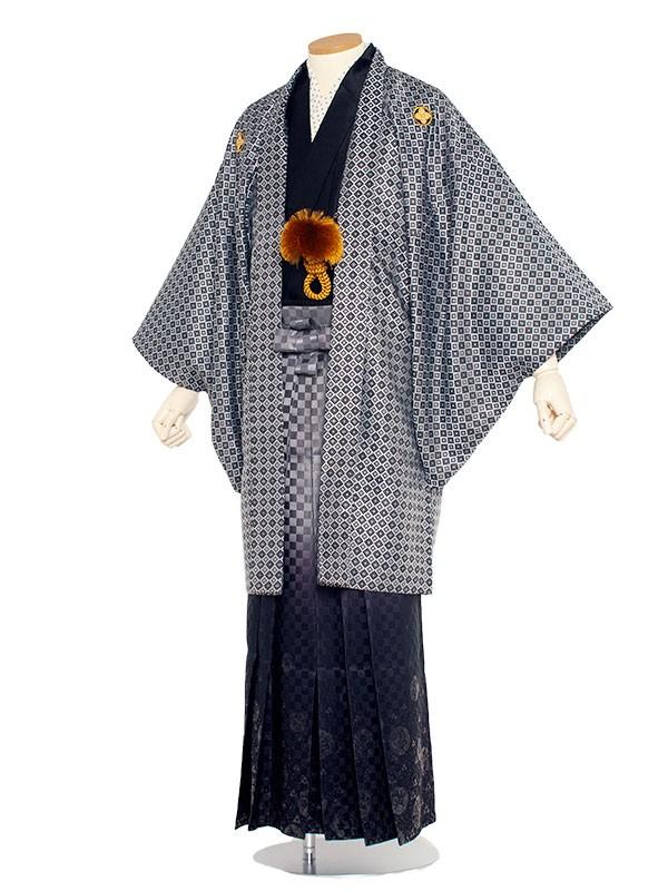 男性用袴 5号シルバー格子柄/5X12