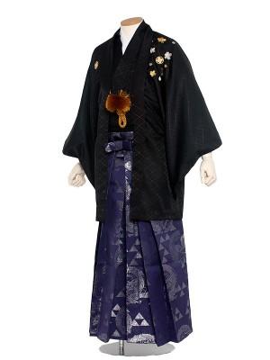 男性用袴レンタル 5号 黒紋付 さくら刺繍/5B05