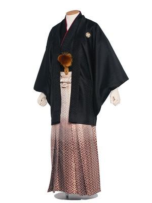男性用袴 紋服5号 黒 花菱エンジぼかし袴/5B50