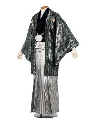 男性用袴 紋服5号 黒・シルバーグレー 花菱模様/5B30