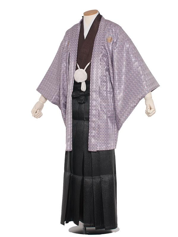男性用袴 5号パープルピンク格子/5X04